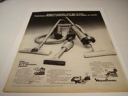 ANCIENNE PUBLICITE ASPIRATEUR MOULINEX 1970 - Publicidad