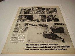 ANCIENNE PUBLICITE RASOIR PHILIPS 1970 - Publicidad
