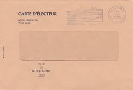 Franchise Postale Carte Electeur Tarif Electoral Non Utilisé Guerande Sel 44 Loire Atlantique 2000 - Tariffe Postali