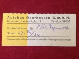 Fahrkarte Autobus Oberbayern GmbH München Tegernsee 1934 - KFZ