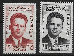 1956 Tunisie  N° 426 427 Nf** . MNH  . Farhat Hached . - Tunisia