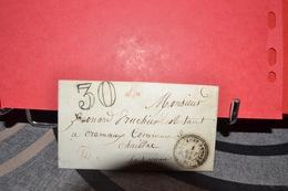LETTRE  CAD A CERCLE POINTILLÉ  ST LAURENT SUR GORRE 1 AOUT 58 . TAXE 30  CAD B EN ROUGE - Postmark Collection (Covers)