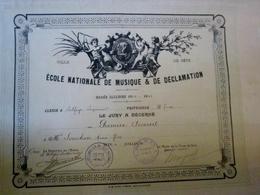 école De Musique Et De Déclamation De La Ville De Sete Cette Année 1932 -1933 Premier Accessit Diplome Certificat Musica - Documents