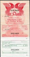 Postovni Banka Czech Postbank 1,000 Kcs SPECIMEN - Cheques & Traveler's Cheques