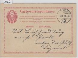 1873 PK 3c - Stempel: Hochdorf To Luzern 5.X.73 - Ganzsachen