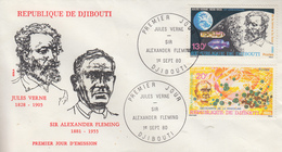Enveloppe  FDC  1er  Jour    REPUBLIQUE   De   DJIBOUTI    Jules  VERNE  - Alexander  FLEMING    1980 - Djibouti (1977-...)