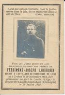 Guerre 14/18 - Ferdinand Joseph LANDRAIN ° Crehen 1884 Prisonnier Fort De Loncin 16/8/1914 + Mannheim 28/7/1918 - Religion & Esotérisme