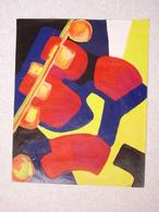 Tableau ABSTRACTION CUBISTE Acrylique Sur Papier 40 Cm X 50cm - Acryliques