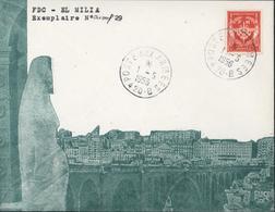 Enveloppe Illustrée FDC El Milia Poste Aux Armées Secteur Postal 420 B 1 5 1956 YT FM N° 12 Guerre D'Algerie - Marcophilie (Lettres)