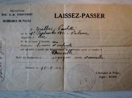 MILITARIA RARE LAISSEZ PASSER 1926 DROME POUR BONNE ENFANT CACHET COMITE LOCALE DE LIBERATION - 1939-45
