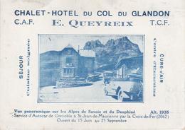 CHALET-HOTEL Du COL Du GLANDON (12,5 Cm X 9 Cm) Carte De Visite Illustrée - Sin Clasificación