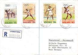 MALAWI - AIR MAIL RECO 1989 LIVINGSTONIA -> OBERHAUSEN/GERMANY - Malawi (1964-...)