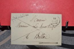 LETTRE  ADRESSÉ SOUS PREFET CAD  CHANTELOUBE 14 SEPT 1829  .RAYÉ . CACHET DE CIRE - Postmark Collection (Covers)