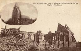 WINGLES  -  L'Eglise  Avant Et Après La Guerre - Neuve - Other Municipalities