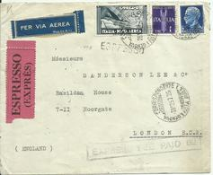 VE3Cb212-Aeroespresso X Londra Con Imperiale 28.12.1937 - Accessorio Express Fee Paid 62 - 1900-44 Victor Emmanuel III