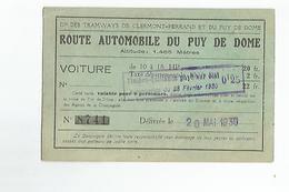 Carte Route Automobile Du Puy De Dome Cie Des Tramways  De Clermont Ferrand N°8741 1930 - Titres De Transport