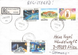 MALAYSIA - AIR MAIL RECO 1995 -> AHLEN/GERMANY - Malaysia (1964-...)