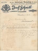 Allemagne. Chemnitz - Entête Du 3 Septembre 1897 - Josef Schmidl - International Weinhandlung. - Deutschland