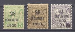 MONACO -- Baptême De La Princesse Antoinette - 3 Timbres Albert 1er De 1901-20 Surchargés - Unused Stamps