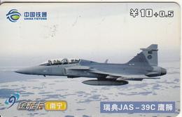 CHINA - JAS-39C, China Tietong Prepaid Card Y10, 08/07, Used - Armée