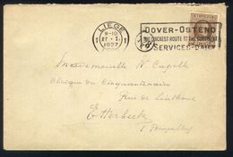 E08 - Belgium - Cover 1927 - Houyoux OBP 203 - Liege / Luik - Flag Dover Ostend - 1922-1927 Houyoux