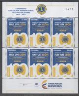 COLOMBIA, 2017, MNH, LIONS CLUB CENTENIAL, LIONS INTERNATIONAL, SHEETLET OF 6v - Rotary, Lions Club