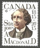 Sc # 2804 Sir John A. Mcdonald, First Prime Minister Booklet Single Used 2015 K461 - 1952-.... Règne D'Elizabeth II