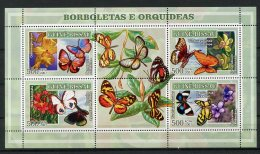 Guinea Bissau, 2007, Butterflies, Orchids, Insects, Flowers, Animals, Flora, Fauna, MNH, Michel 3574-3577 - Guinea-Bissau