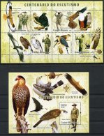 Guinea Bissau, 2006, Scouting, Birds Of Prey, Animals, Fauna, MNH, Michel 3399-3402, Block 567 - Guinea-Bissau