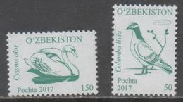 UZBEKISTAN , 2017, MNH, BIRDS,2v - Swans