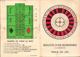 Casino, Aix En Provence, Regle Du Jeux    (etat Voir Photos) - Cartes De Casino