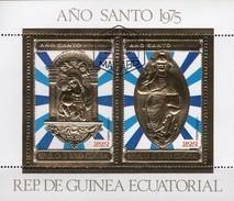 Madonna Heilige Jahr 1975 Äquatorial Guinea Block 199 O 8€ Jerusalem Jesus Bloc Gold Ss Sheet M/s Bf Ecuator.Africa - Christianity