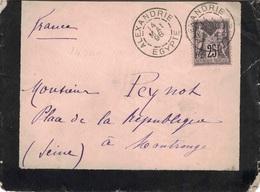 SAGE - EGYPTE - ALEXANDRIE - BUREAU FRANCAIS - 14-5-1898 - VERSO TRANSIT PORT-SAID ET CACHET PAQUEBOT - LA REUNION A MA. - 1871-1875 Cérès