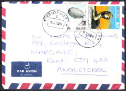 Ca0009 ZAIRE 1988, Balloon & Snake Stamps On Mbuji Mayi 1 Cover To UK With I.10(D) Cancellation - Zaire