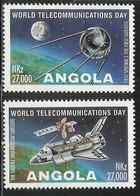 1995 Angola World Telecom Day Sputnik Space Shuttle  Complete  Set Of 2  MNH - Angola