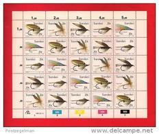 TRANSKEI, 1984, MNH Stamp(s) In Full Sheets, Fishing Flies  Nr(s) 132-136 - Transkei