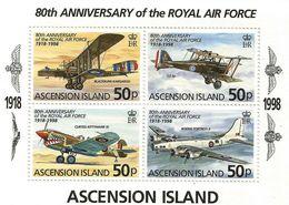 1998 Ascension RAF Anniversary Aviation Planes Military Complete  Souvenir Sheet  MNH - Ascension (Ile De L')