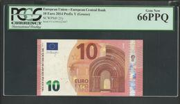 """Greece """"Y""""10 EURO Draghi Signature! Printer Y004C6 Extremely Rare! PCGS 66PPQ (Perfect Paper Quality!) GEM UNC! - 10 Euro"""