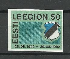 ESTLAND ESTONIA 1992 Vignette Estnisches Legion 50. Jahrestag MNH - Estonia