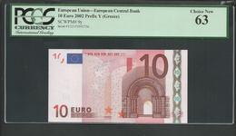 """Greece  """"Y"""" 10  EURO UNC! Trichet Signature!!  """"Y""""   Printer  Y034F6! PCGS 63 CHOICE UNC! - 10 Euro"""