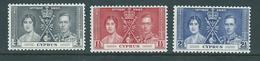Cyprus 1937 KGVI Coronation Set 3 FU - Chypre (République)