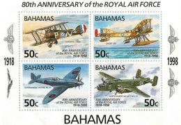 1998 Bahamas RAF Military Aircraft  Spitfire Aviation Souvenir Sheet  MNH - Bahamas (1973-...)