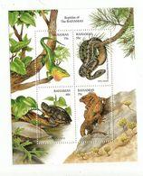 1996 Bahamas Reptiles Snake Turtle  Complete Set Of 4 + Souvenir Sheet  MNH - Bahamas (1973-...)