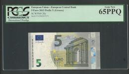 "Greece Rare Printer Y003B2 !! ""Y"" 5 EURO Draghi Signature! PCGS 65 PPQ (Perfect Paper Quality!) GEM UNC! - EURO"