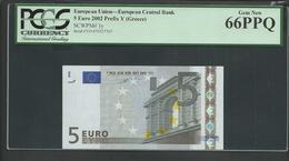 "Greece  ""Y""  5  EURO Duinseberg Signature! Printer N001G1!! PCGS 66PPQ (Perfect Paper Quality!) GEM UNC! - EURO"
