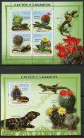 Guinea Bissau, 2008, Cactus, Iguana, Lizard, Animals, Flowers, MNH, Michel 3864-3867, Block 659 - Guinea-Bissau