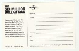 Promo Postcard SIX MILLION DOLLAR MAN BIONIC WOMAN VIDEO Vol 1 Universal Video London  Tv Television - TV Series