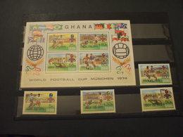 GHANA - 1975 CALCIO/APOLLO SOYUZ 4 VALORI + BF - NUOVI(++) - Ghana (1957-...)