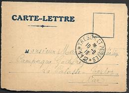 CM 124  Correspondance Militaire Du 10-09-16 Cachet Trésor Et Postes Simple Cercle N°(SP)112 65ème Division D'Infanterie - Marcofilie (Brieven)