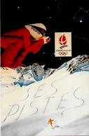 CPM Albertville Jeux Olympiques Ski Non Circulé 1992 Tirage Limité Signé En 100 Exemplaires - Olympische Spiele